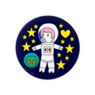 豚人イラストのパンダ武島の『宇宙遊泳するブララさん』 Badges