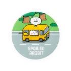AKIRAMBOWのSpoiled Rabbit - Pixel Bus / あまえんぼうさちゃん ドットアートバス Badge