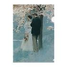世界の絵画アートグッズのハワード・パイル 《春・桜の木の下で》 Clear File Folder