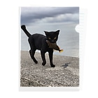 AMURITANONIWA-OFF LINE ART SHOPの魚をくわえた島猫 Clear File Folder