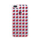 SANKAKU DESIGN STOREの赤青/青赤 ブラシ水玉模様。A Clear smartphone cases