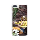 FUCHSGOLDの人形写真:ギルドで食事中のブロンド美少女冒険者 Doll picture: Blonde adventurer at the guild Clear smartphone cases