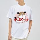 マツバラのもじゃまるやっぴぃー! ピンク Dry T-shirts