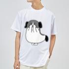 マツバラのもじゃまる目隠し 白黒 Dry T-shirts