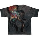 マチュカバーショップのモンにゃんフルグラTシャツ「新井英樹 VS 平田澱」ver. BLACK Full graphic T-shirtsの背面
