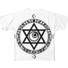 KIKITEKI_LABORATORYの魔法陣×六芒星×目玉 BLACK Full graphic T-shirts