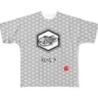 TAIYAKI INSANITYの青海波紋たい焼き 〈弐〉クロシロ Full graphic T-shirts