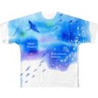 Hi*roomのウリクラゲとマンタの四角い海 Full graphic T-shirts
