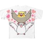 まめるりはことりのラブリーオカメインコ【まめるりはことり】 Full graphic T-shirts