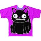 Black Cat Takes Good Luck フルグラフィックTシャツ