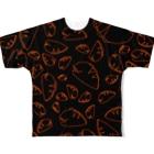 紫咲うにのながくないうつぼ ちらし 黒オレンジ Full graphic T-shirts