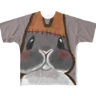 Yomaaaa's Lab.の【フランケンうさぎ】照れ顔[Gray]ver. Full graphic T-shirts