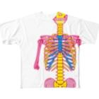 イラスト解剖学教室のピンク骸骨フルグラフィックTシャツ