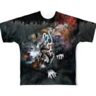 マチュカバーショップのモンにゃんフルグラTシャツ「新井英樹 VS 平田澱」ver. BLACK Full graphic T-shirts