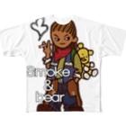 オリジナルデザインTシャツ SMOKIN'のクマを背負ったボヘミアンA Full graphic T-shirts