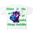 オリジナルデザインTシャツ SMOKIN'のくるりんモクモックマA  紫 Full graphic T-shirts