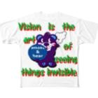 オリジナルデザインTシャツ SMOKIN'のくるりんモクモックマC紫 Full graphic T-shirts