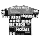 HOUSE DANCE MANIAのHOUSE RIDE ビッグタグ黒地 Full graphic T-shirtsの背面