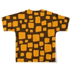 ゴータ・ワイのキューブ (前後2面プリント)  コーヒーブラウン/イエロー Full graphic T-shirtsの背面
