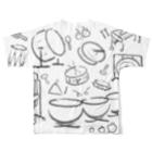 OSHIYOMANの打楽器だらけ くろ はいいろ Percussions black gray Full graphic T-shirtsの背面