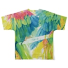 AKI ONLINE SHOPの出逢った青い鳥と赤い鳥 Full graphic T-shirtsの背面