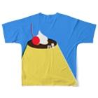 かわしまさきのおやすみプリン Full graphic T-shirtsの背面