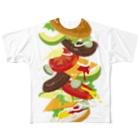 日下田のフォーリングハンバーガー Full graphic T-shirts