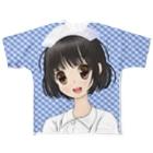 げーむやかんのモエ萌えナース青色チェック柄背景 Full graphic T-shirts