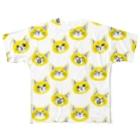 喫茶こぐまやの北欧風にゃんこ 黄色 Full graphic T-shirts