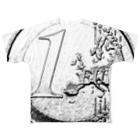 カマラオンテの1ユーロ 1euro 硬貨 ヨーロッパ かすれ加工 Full graphic T-shirts