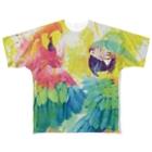 AKI ONLINE SHOPの出逢った青い鳥と赤い鳥 Full graphic T-shirts