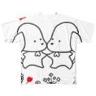 あやのほのぼのダックス モノトーン Full graphic T-shirts