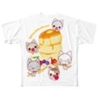 aska/ねこのかんづめのパンケーキパーティーフルグラフィックTシャツ
