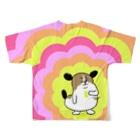 マツバラのもじゃまるウキウキフルグラ Full graphic T-shirtsの背面