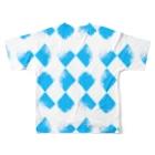 唐松 梗樹(カラマツ コウキ)の青ちょきちょき Full graphic T-shirtsの背面