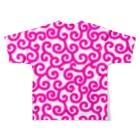 ★がらがら別館★の★唐草★ピンク★白地★ Full graphic T-shirtsの背面
