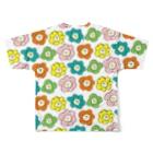 ゴキゲンサンショップのカラフルお花さん Full graphic T-shirtsの背面