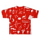 明季 aki_ishibashiの赤色のおまじない Full graphic T-shirtsの背面