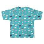 非ユークリッド幾何学を考える kodaisakanaのおパンツと▲と鳥  みずいろ Full graphic T-shirtsの背面