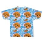 NORIMA'S SHOP のかわいいトイプードルの子犬と夢かわいい雲のイラスト Full graphic T-shirtsの背面