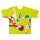 レトロイドの花とワインの女 Full graphic T-shirts
