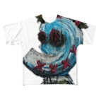 tonerinohitoの青い人 Full graphic T-shirts