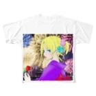 omu_na0523の夏まつり花火とりんご飴 Full graphic T-shirts