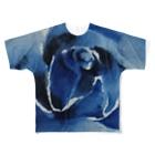 水墨絵師 松木墨善の墨×青薔薇 Full graphic T-shirts