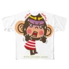 """ザ・ワタナバッフルのドングリ頭のチンパンジー""""ビックリ"""" Full graphic T-shirts"""