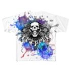 OctayuのSKULL666(WHITE) Full graphic T-shirts