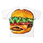 水彩イラストグッズのテイクアウトしたくなるハンバーガー Full graphic T-shirts