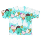 HIKI DE 物 SHOPのペンギンアイス(空) Full graphic T-shirts
