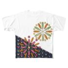 ねこやなぎ屋の和柄ステンドグラス風(花火×青海波) Full graphic T-shirts