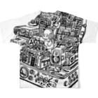 ガラガラムーチョロの石のあけたらしろめ「ハイパーインフレ」フルグラフィックTシャツ